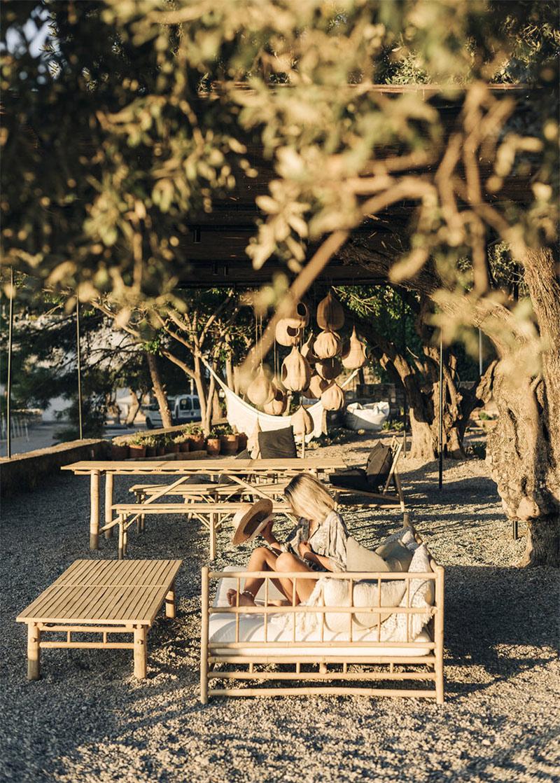 L'Hôtel Casita Casita à Lindos // Un espace extérieur très boho