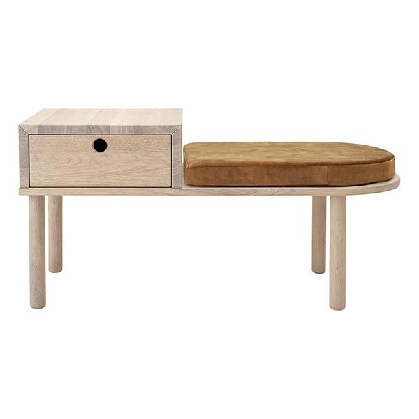 Banc en chêne avec tiroir et coussin, Lenny - Bloomingville