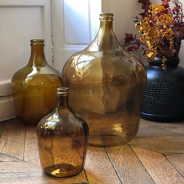Bonbonne dame jeanne en verre recyclé ambre - Maison Tilleul