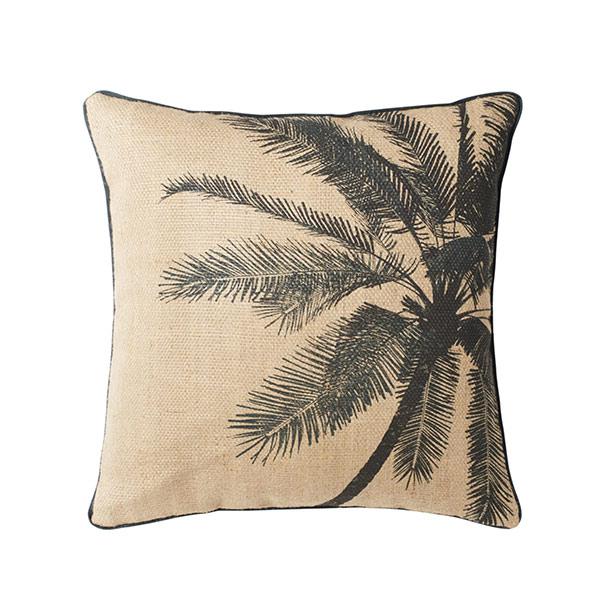 Coussin en jute imprimé palmier, Kakhuna sur Maisons du Monde
