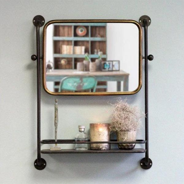 Miroir étagère en métal noir et doré, Astoria - Red Cartel