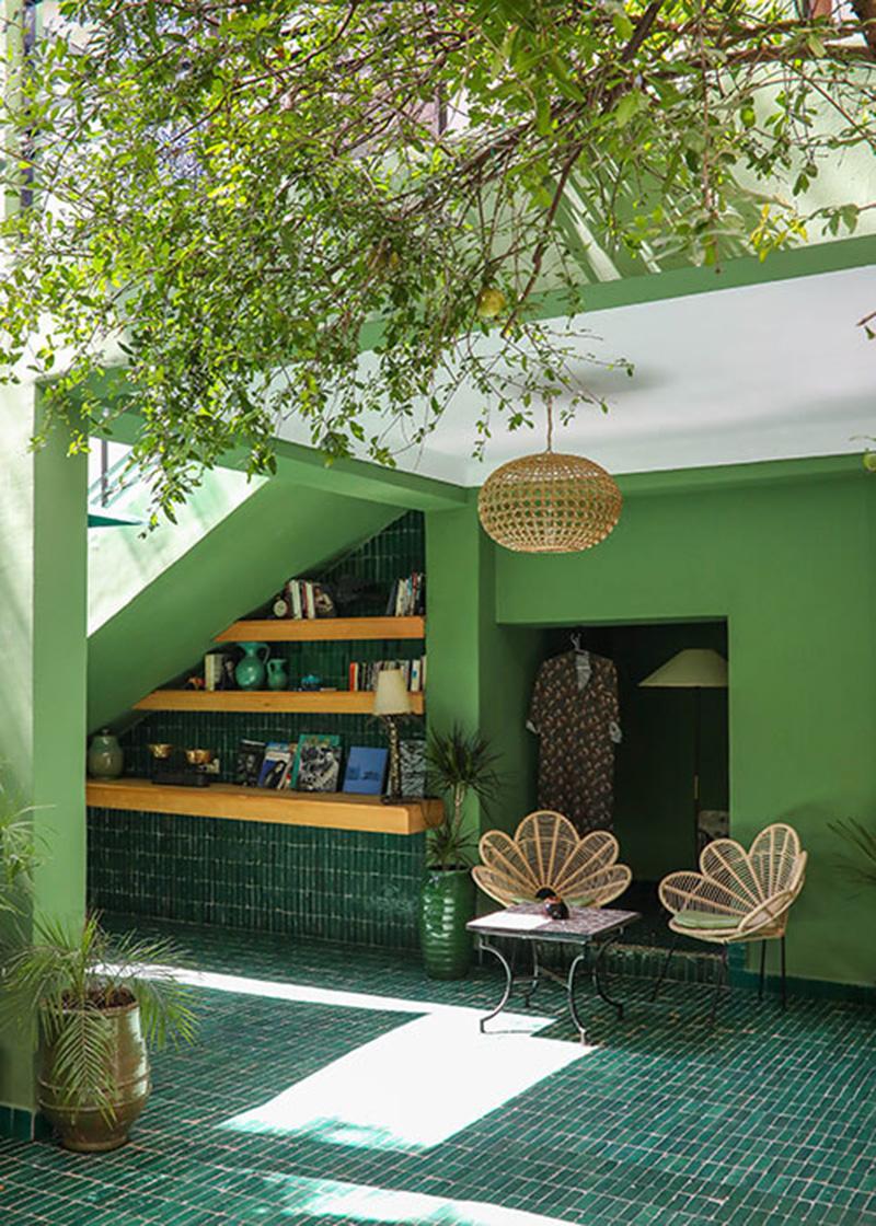 Des zelliges verts dans sa déco // Le Jardin à Marrakech