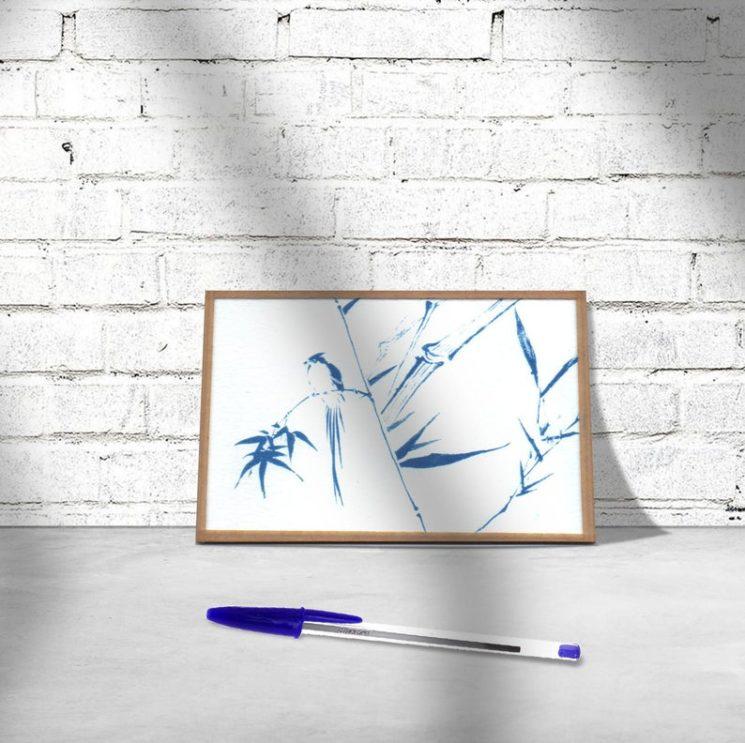 Cyanotype, illustration d'oiseau dans les bambous, 10X15 cm, 14 € sur la boutique Cyanotheque
