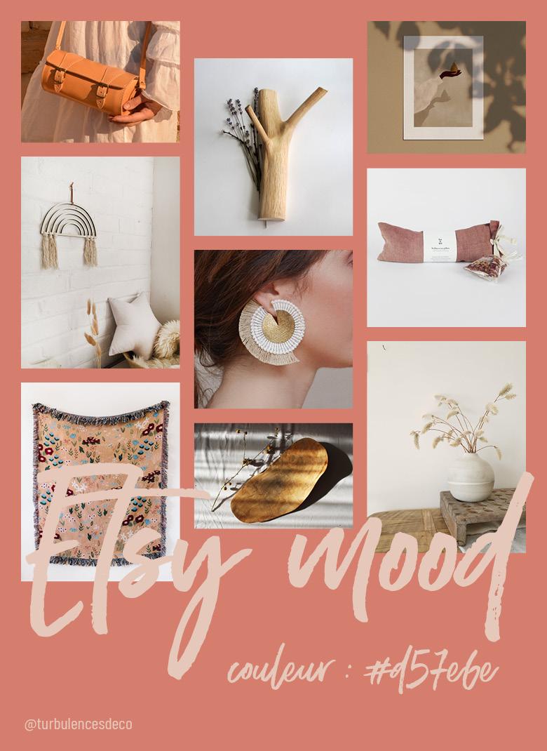 Retrouver ma sélection Etsy Mood, objets et de produits design, écolo, vintage ou artisanal, inspirée de cette couleur de ce rose presque orange #d57e6e sur Turbulences Déco