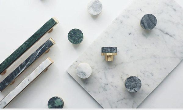 Gamme de poignées de meuble en laiton et pierre,OrTealandVert, à partir de 14,99 €.