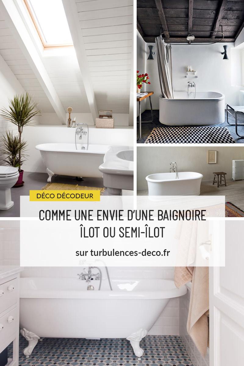 Retrouvez sur Turbulences Déco de nombreux exemples de salle de bains avec baignoires îlot ou semi-îlot