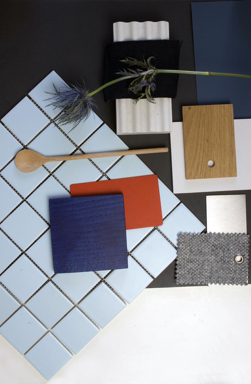 Material board ou palette de matériaux à retrouver // Turbulences Déco + Daniel Edition