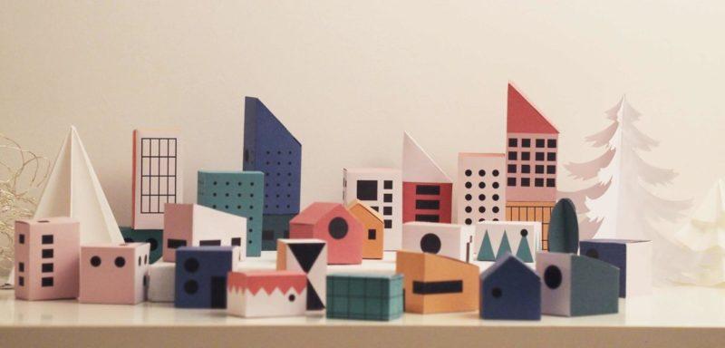 24 boites en forme de maisons aux architectures et aux couleurs modernistes à télécharger sur jacquesdesign.fr