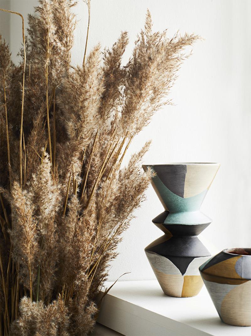 Vase graphique en terre cuite, le grand - Madam Stoltz