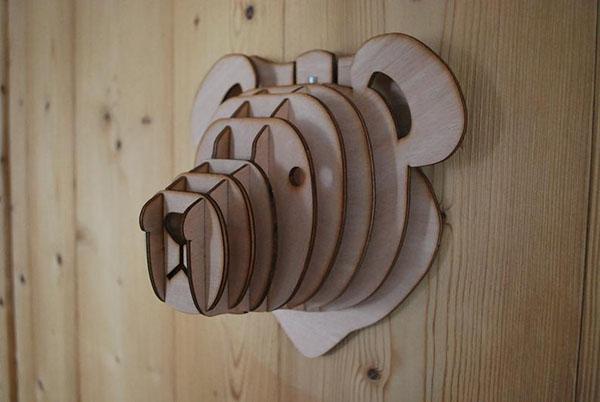 Tête d'ourson en bois 3D 3D - Boutique Etsy Mountain Design
