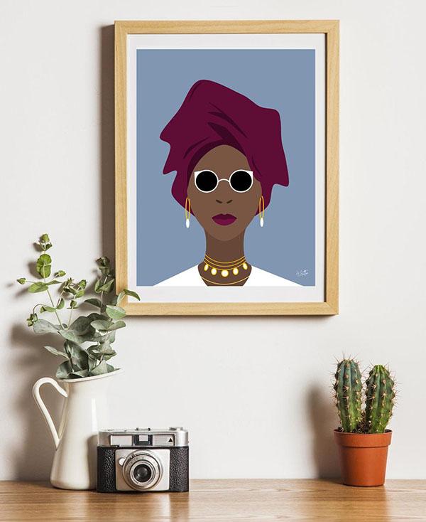 Poster Femme africaine - Boutique Etsy Antoine Illustrations