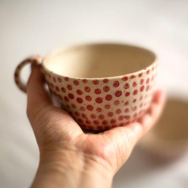 Grandes tasses blanches rouges - Boutique Etsy Eeli Art Studio