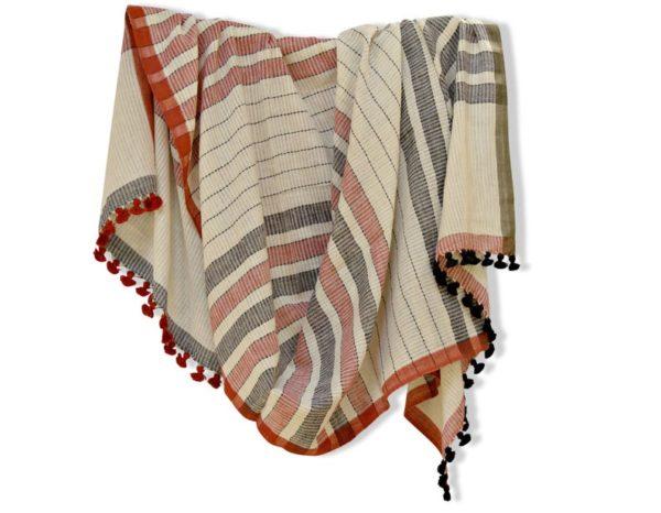 Écharpe d'été d'écharpe avec pompon - Boutique Etsy Indigo and Rust
