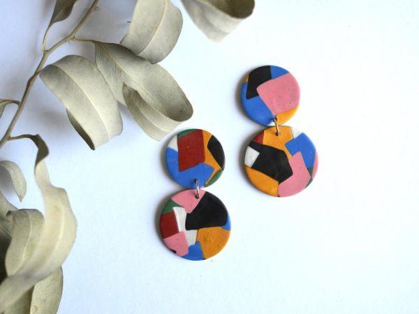 Boucles d'oreilles colorées en argile polymère - Boutique Etsy Ju Ma Handmades