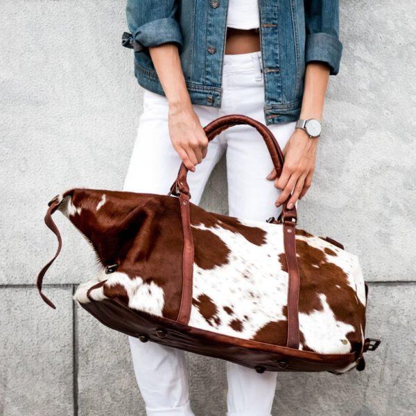 Grand sac en cuir Cowhide Duffle - Boutique Etsy MAHI Leather