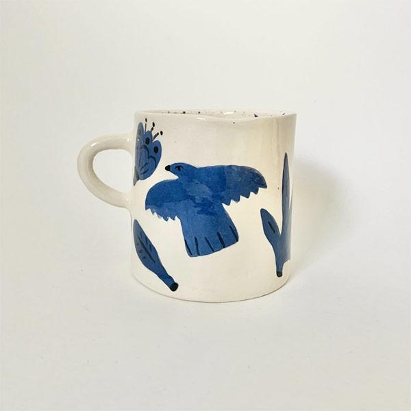 Tasse bleue avec oiseau - Boutique Etsy Solenn Larnicol