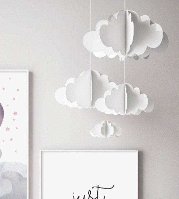 """Décoration """"nuages"""" en papier 3D - Boutique Etsy The Fox and Alice"""