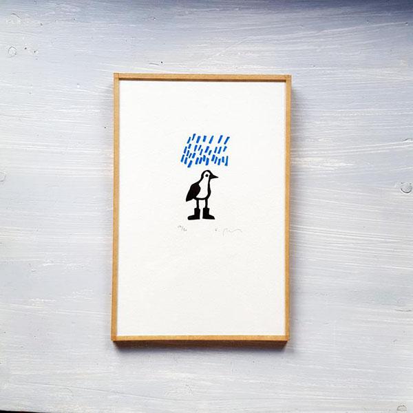 """Linogravure""""Oiseau avec des bottes sous la pluie"""" par Sandrine Péron - Boutique Etsy Au bout du blanc"""