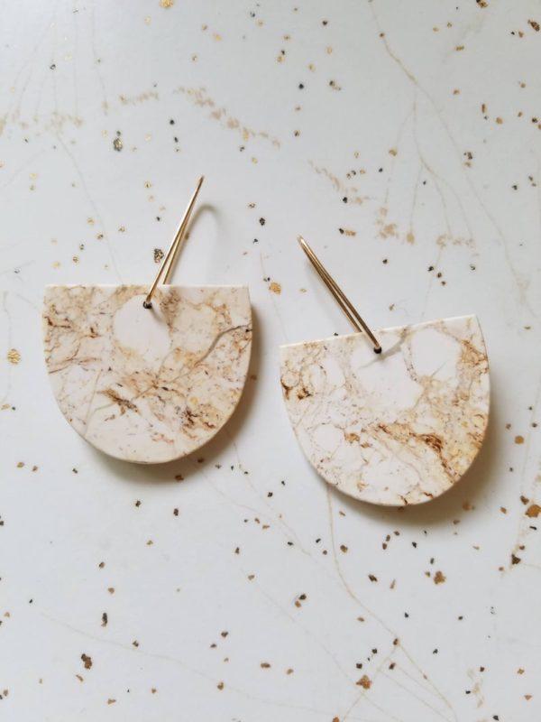 Boucles d'oreilles demi-lune en pierre - Boutique Etsy Lumafina