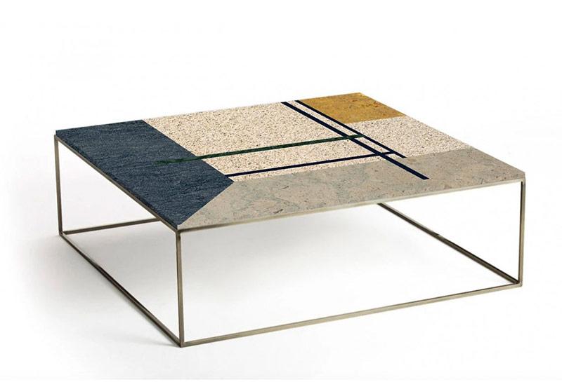 Table de style Art Déco, en marbre et laiton, Collection Mondrian sur MBS Design, nouveau concept-store en ligne
