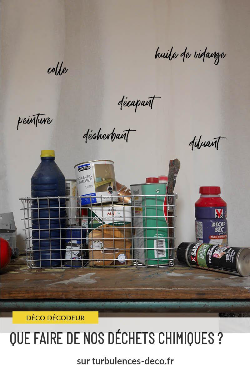 Que faire de nos déchets chimiques ? Comment les trier, trouver des points de collecte. Plein de renseignements à retrouver sur Tubulences Déco