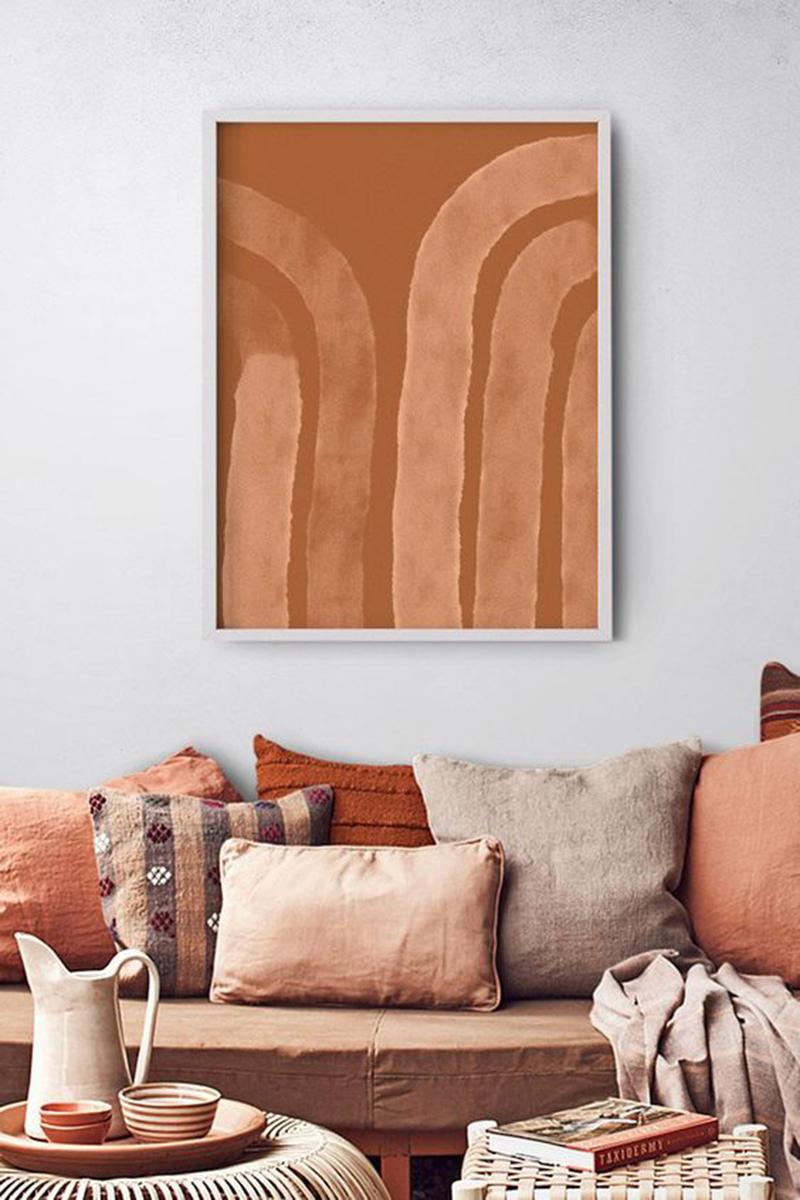 Palette de couleurs terracotta, rose, beige et brun // Mixage de coussins dans les tonalités sable, terracotta, brun