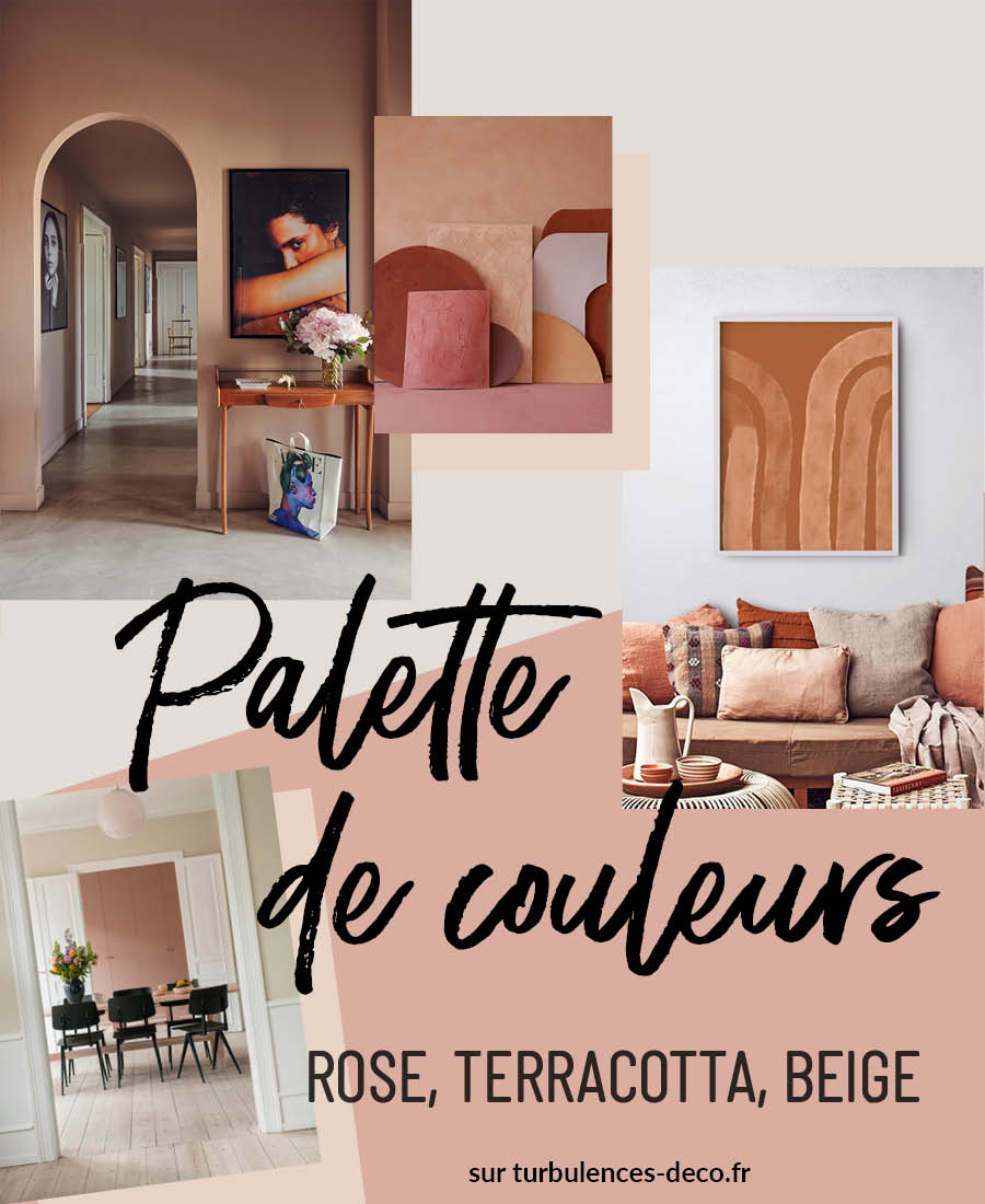 [ Inspiration déco ] Palette de couleurs terracotta, rose, beige et brun à retrouver sur Turbulences Déco