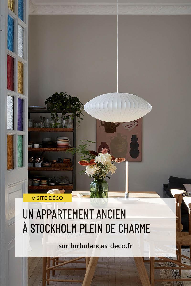 Un appartement ancien à Stockholm, plein de charme à retrouver sur Turbulences Déco