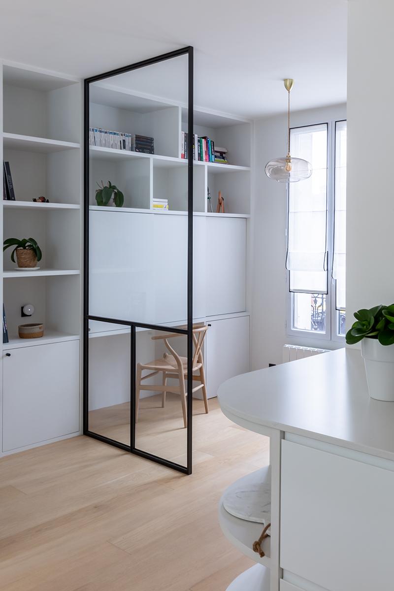 Bureau aménagé // Camille Hermand Projet Suresnes, 2020 - Rénovation partielle d'une maison de 160m²