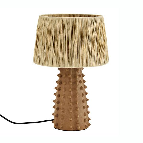 Lampe à poser en terre cuite et raphia - Madame Stoltz