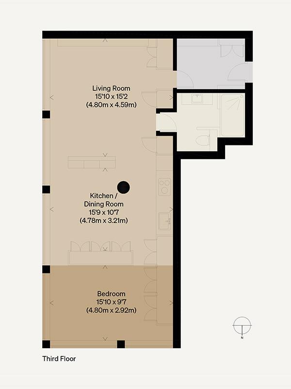 Plan de cet appartement à l'aménagement tout en longueur - themodernhouse - Great Titchfield street plan