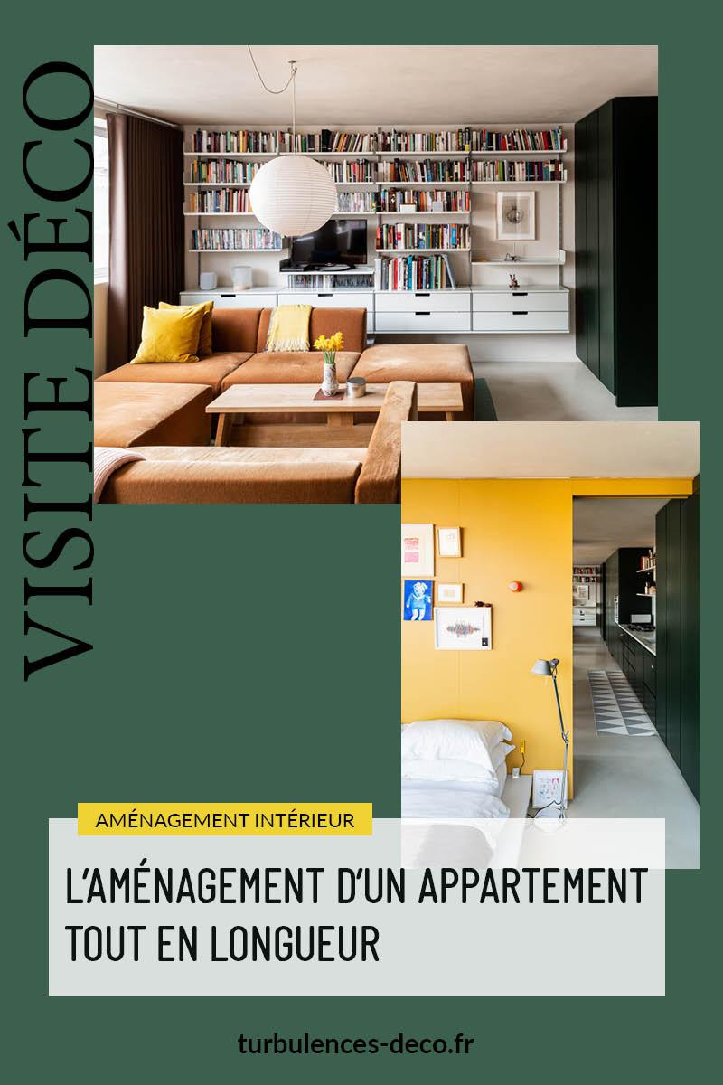 L'aménagement d'un appartement tout en longueur à retrouver sur le blog Turbulences Déco