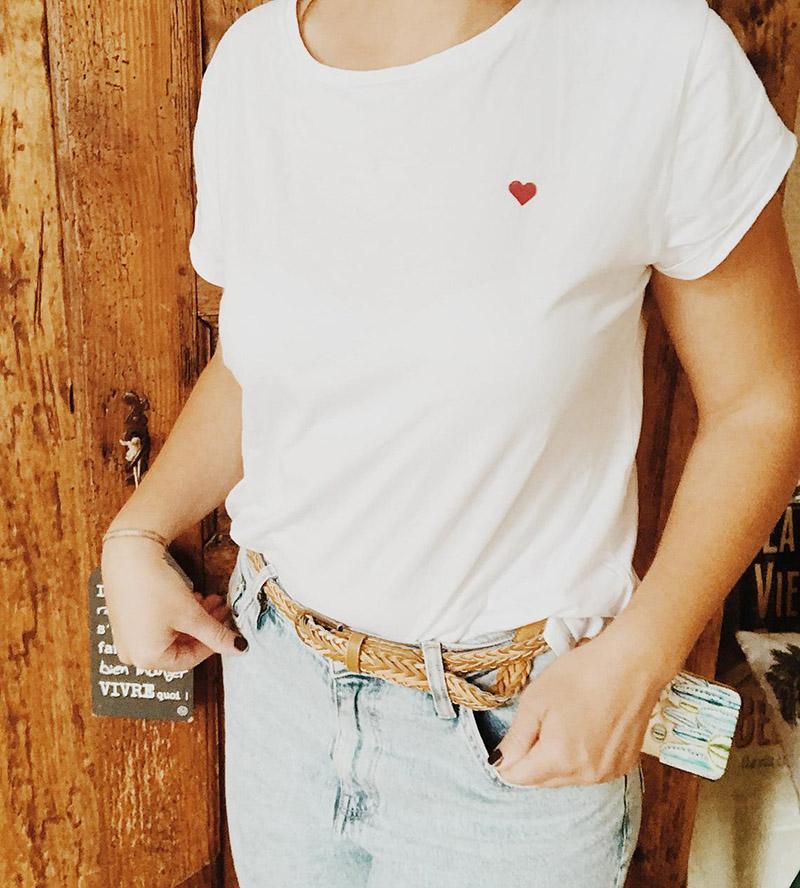 """T-shirt Blanc Femme """"Petit Cœur"""" sur la boutique Etsy La Plage Coco"""