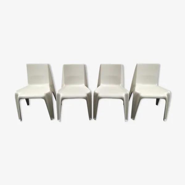 Lot de 4 chaises, Bofinger, design : Helmut Batzner (année 1966) sur Selency