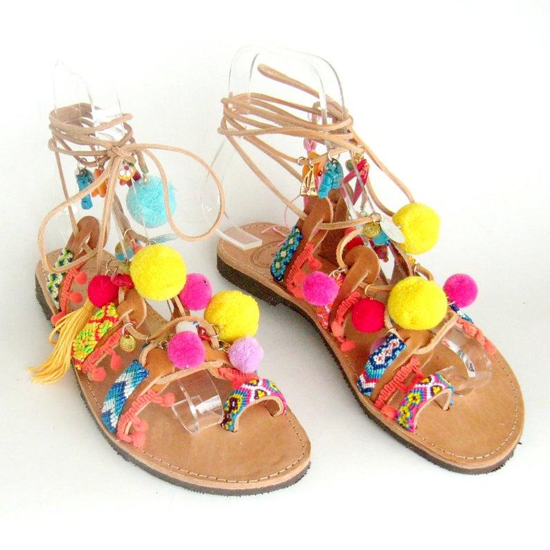 Sandales de gladiateur boho - Boutique Etsy Eathini