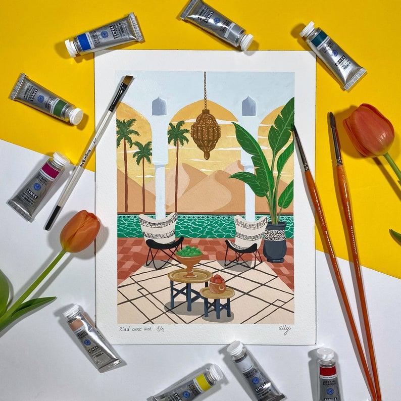 Riad avec vue, peinture originale - Boutique EtsyAlly dit Hawaii