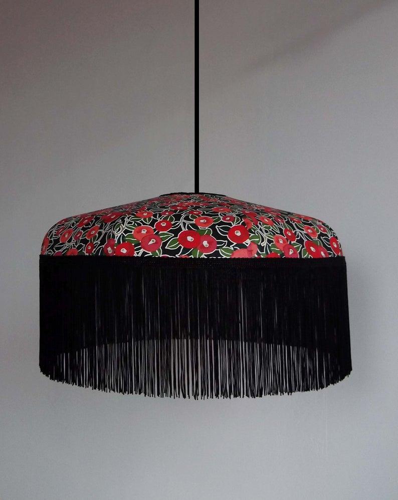 Suspension en papier japonais et frange, Félicia - Boutique Etsy Miska creations