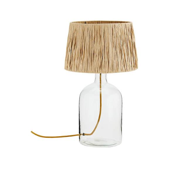 Lampe à poser en verre et abat jour en raphia - Madam Stoltz