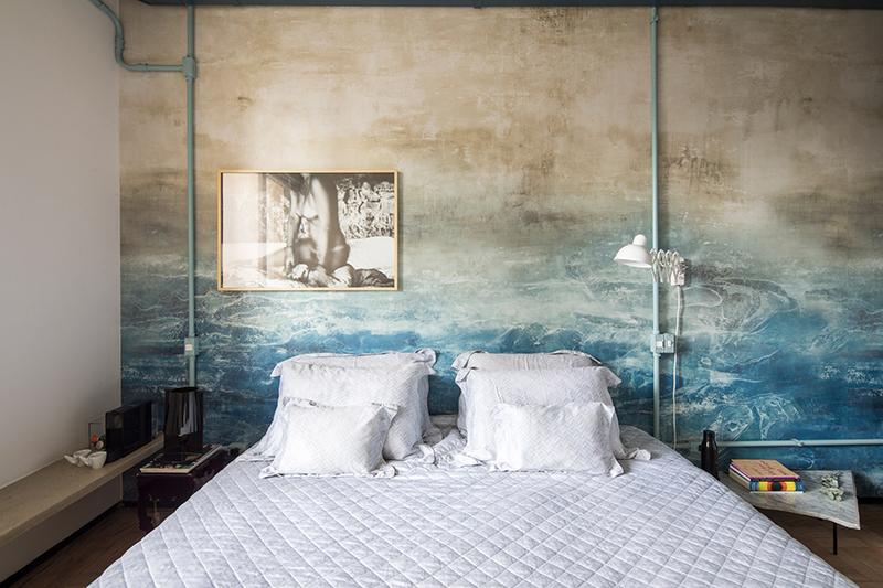 Chambre avec fresque panoramique e tête de lit - RF Apartement à à São Paulo par le studio Super Limão