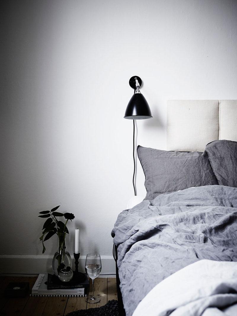 Une chambre design de style scandinave dans les tonalités de gris