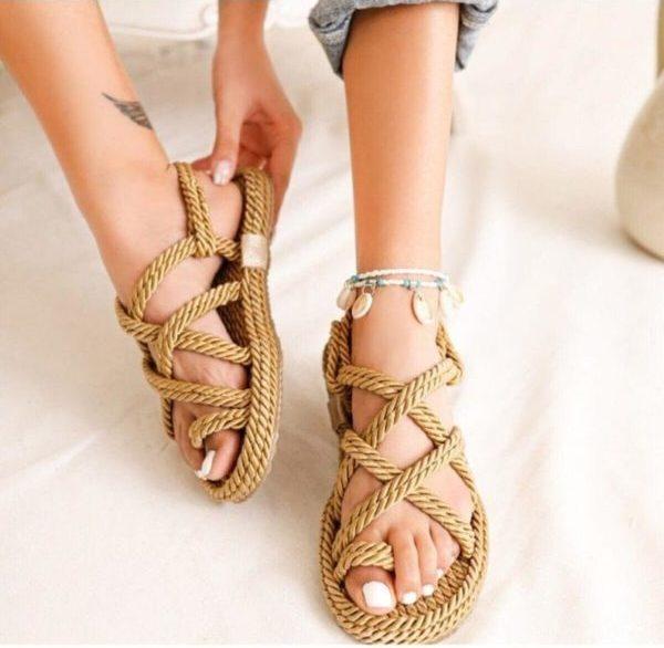Sandale en corde, sur la boutique Etsy ondaonshoes