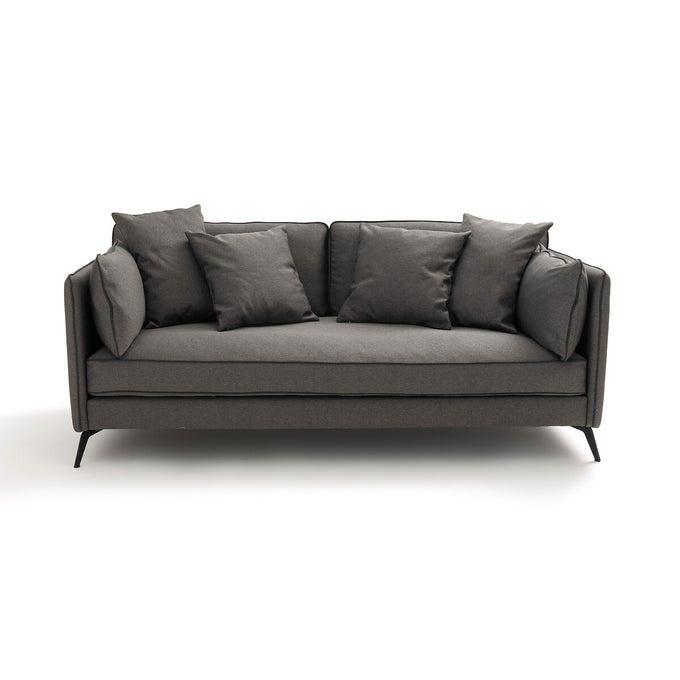 Canapé fixe 3 places tissu texturé gris, Sofia - La Redoute Intérieurs