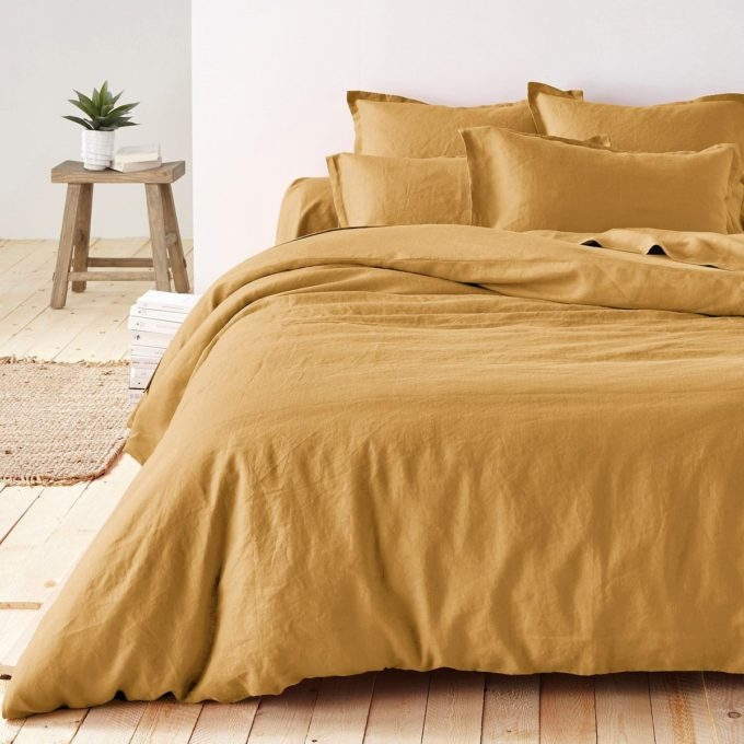Housse de couette en lin lavé ambre, Linot - La Redoute Intérieurs