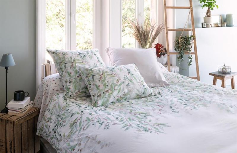 Housse de couette pur coton biologique lavée imprimée végétal, Arborea - Carré Blanc pour une ambiance slow bohème