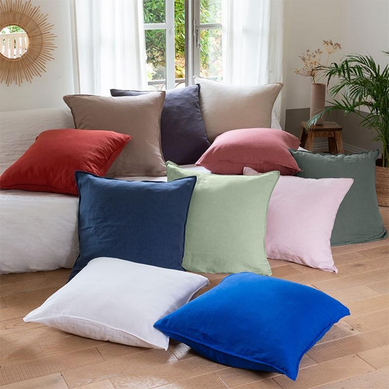 Taie d'oreiller carrée en lin lavé uni, Songe - Carré Blanc à mixer avec une housse de couette de la même gamme