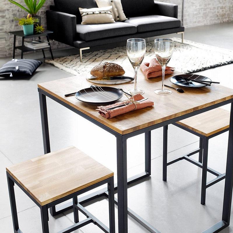 Table bistrot 2 couverts en chêne et acier, Hiba sur La Redoute Intérieurs