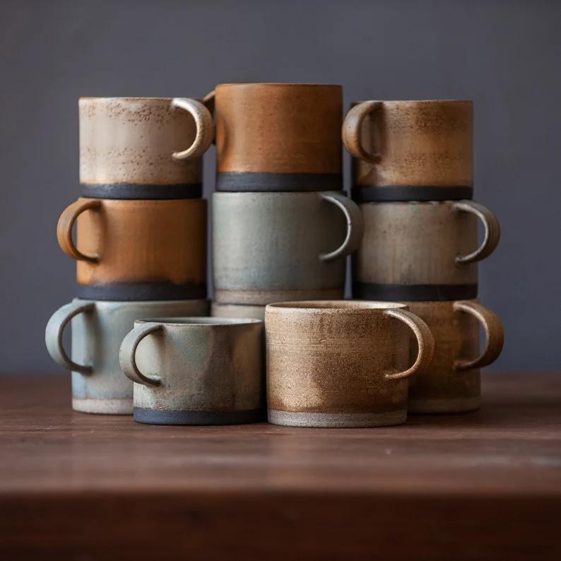 Mugs en céramique pour thé ou café, à commander sur la boutique Etsy BirdmansHome