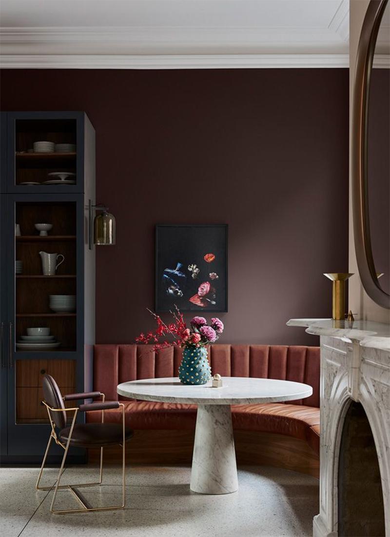 Collection couleurs Dulux - Inspiration Flourish - Association des teintes Karori + Cuir profond + Castlepoint