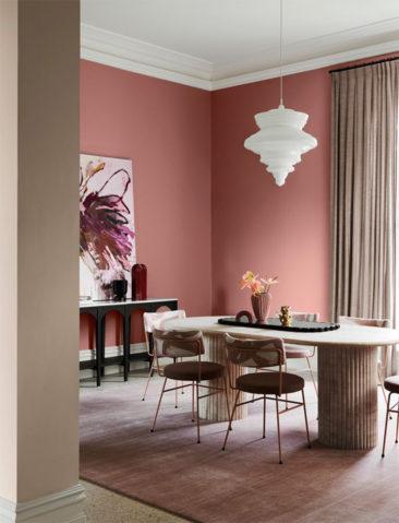 Collection couleurs Dulux - Inspiration Flourish - Association des teintes Geyser de Pohutu + Whangara + Sandly Point Half